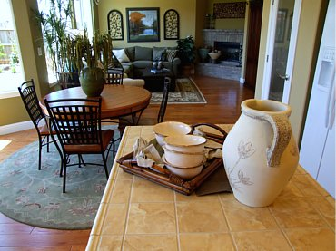 Tuscan styled kitchen and living room