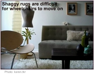 Accessible home design shaggy rug