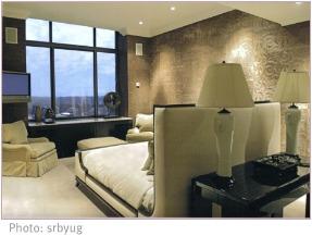 modern bedroom wallpaper and light carpet