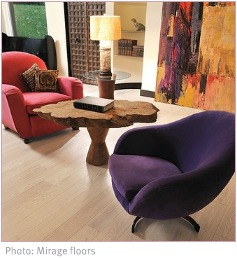 purple and red armchairs on laminate flooring