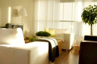 peaceful room white sofas