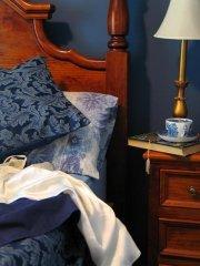 formal blue bedroom