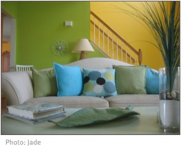 lime green and yellow living room