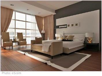 modern bedroom in neutral grays and browns