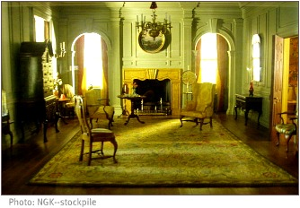 victorian living room in green