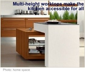 Wheelchair accessible kitchen multiheight worktops