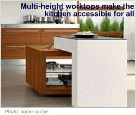 Wheelchair accessible kitchen multiheight worktops