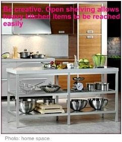 Wheelchair accessible kitchen open shelving