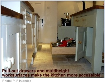Wheelchair accessible kitchen pull-out drawer