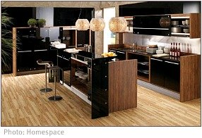 Unity in a modern black and wood kitchen