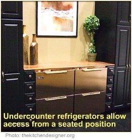 Wheelchair accessible kitchen under counter refrigerator